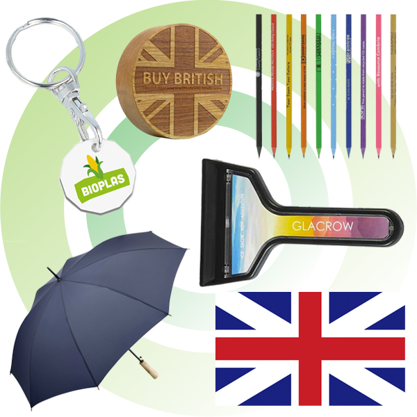 Promotional eco-friendly merchandise that has been made in the UK.