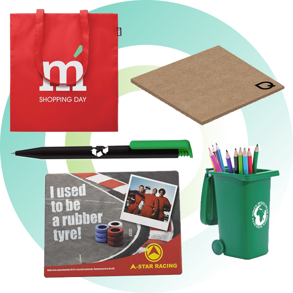 Promotional eco-friendly merchandise made from recycled materials.