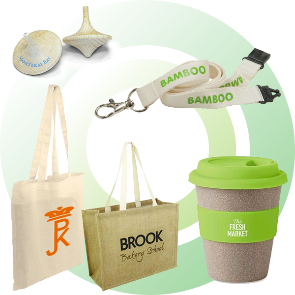 Promotional eco-friendly merchandise that has come from a renewable source.