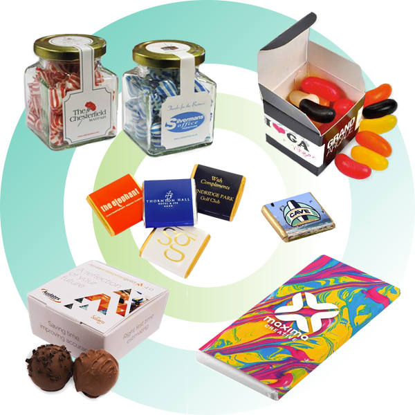 Promotional eco-friendly edible merchandise, such as sweets and chocolate.