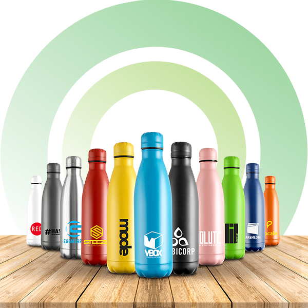 Printed reusable metal bottles, ideal for eco friendly marketing.