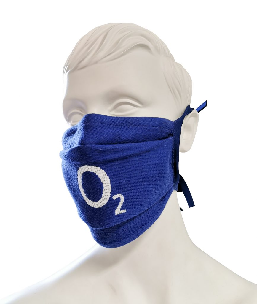 Woven branded reusable face mask made from 100% cotton